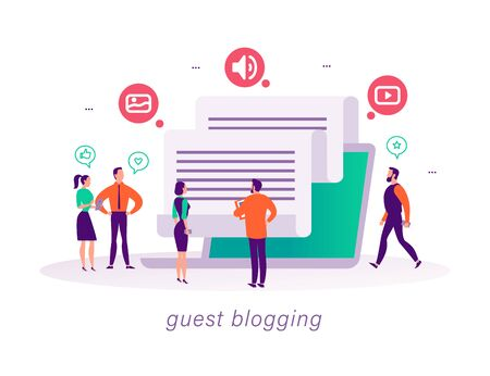 Guest blogging concept with tiny people, laptop and social media review and feedback icons. Landing page design template, web interface, mobile app. Vector flat illustration.