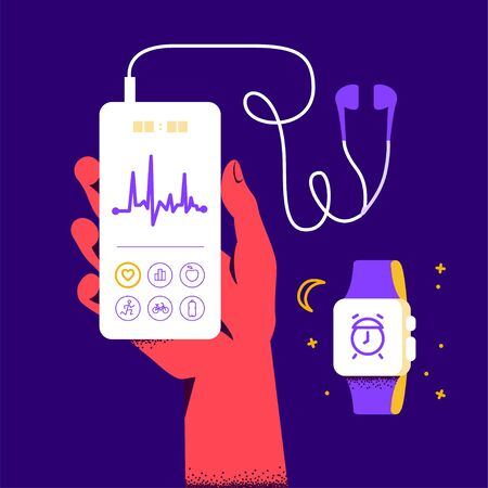 Time sleep mode and heart rate care concept. Human hand hold smartphone with pulse diagram on its screen and smart watch band. Vector flat illustration.