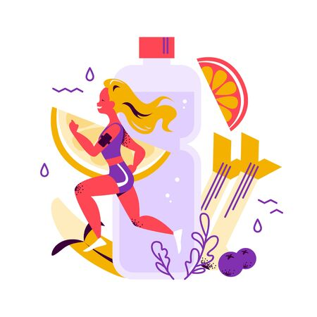 Healthy lifestyle concept with running woman in sport outfit, big water bottle, health nutrition, fruits, celery, banana, berry on white background. For fitness app banner. Vector flat illustration.  イラスト・ベクター素材