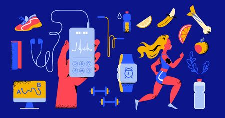 Healthy lifestyle equipment elements set: woman run in sport outfit, hand hold smartphone, fitness app, earphones, smart watch, yoga mat, water bottle, footwear, fruits etc. Vector flat illustration.