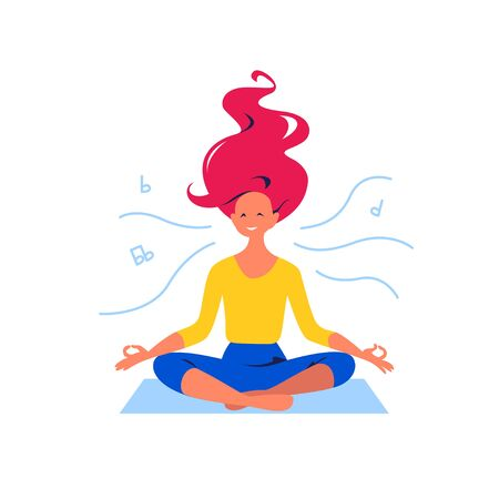 Young lady smiling and meditating, sit on on yoga mat in lotus asana, mental health and good vibes concept. Vector flat illustration. Иллюстрация