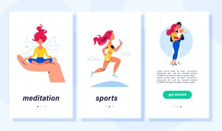 Healthy lifestyle, self care, family, positive emotions concept. Young lady taking time for herself, meditating, doing sports, spend time with family. Vector flat illustration for mobile app, webpage.
