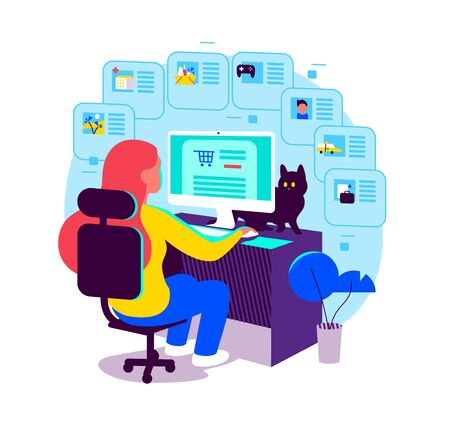 Young girl sitting at computer table. Online shopping, using web services, apps. Order food online, taxi, doctor consultation, social network, blogging, remote working etc. Vector flat illustration.