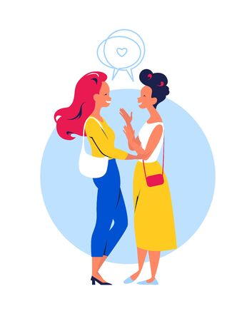 Two happy young modern dressed women talking to each other, friendly conversation healing communication, being with friends together concept. Flat cartoon style. vector illustration.