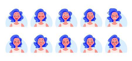 Set of different emotions and feelings on white Ilustração