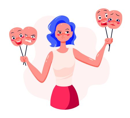 Young woman cartoon character holding masks with different facial expressions to control her emotions, choose different attitude. Mental health, harmony, psychology. Vector flat illustration.