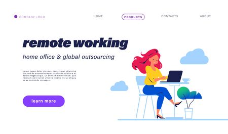 Landing page design with young beautiful girl & laptop at coffee table remote working. Home office, freelance worker, online communication concept. Vector flat illustration. For web page, mobile app. Иллюстрация