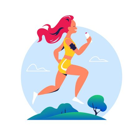 Healthy lifestyle and body positive concept. Young happy girl in sport wear jogging on nature / park side with bottle of water and smartphone heart rate control. Vector flat cartoon illustration.