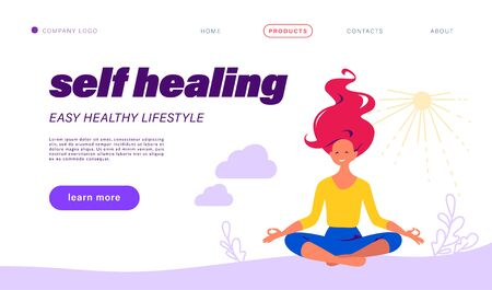 Landing page design template with self healing theme. Young girl sit in lotus asana pose meditate. Healthy lifestyle, mental health concept. Vector flat illustration for web page, mobile app interface