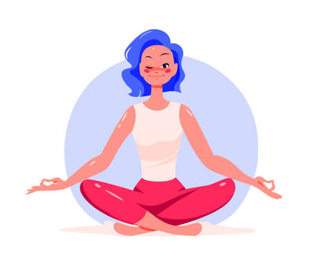 Young girl sitting in lotus yoga asana pose wink smiling. Mental health, emotions control and personal harmony concept. Time for yourself. Vector flat illustration, cartoon style.