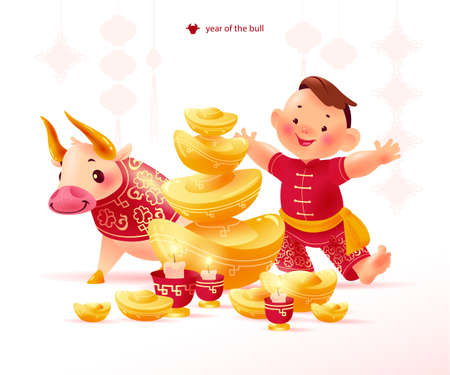 Chinese new year congratulation card, invitation, calendar design with traditional decor elements candles, gold ingots, bull mascot and boy character in hanfu suit. Vector realistic flat illustration.