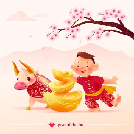 Chinese new year congratulation card, invitation, calendar design. Traditional decor elements cherry blossom, gold ingots, bull mascot, boy character in hanfu suit. Vector realistic flat illustration. Иллюстрация