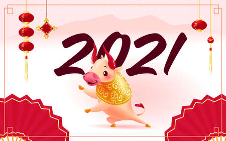 Chinese new year congratulation card, invitation, calendar design with oriental animal bull mascot character, mountains, 2021 numerals on light pink background. Vector realistic flat illustration. Иллюстрация