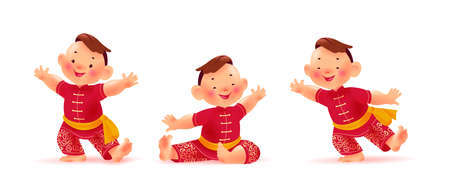 Happy chinese boy character in traditional hanfu suit collection isolated on white background. Chinese new year congratulation, celebration mascot sit, dance, greeting. Vector realistic illustration.