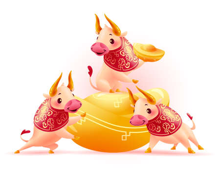 Happy chinese bull mascot characters in traditional hanfu pattern with gold ingots isolated on white background. Chinese new year congratulation celebration greeting. Vector realistic illustration.