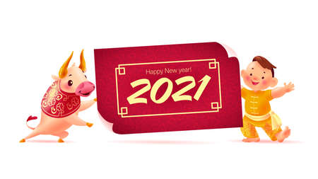 Chinese new year banner with happy boy character in oriental traditional hanfu suit, bull animal mascot, 2021 congratulation, red paper placard. Vector flat realistic illustration. Иллюстрация
