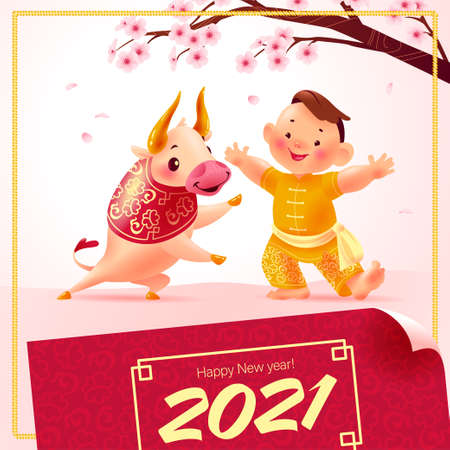 Chinese new year card, invitation, calendar design with traditional decor cherry tree branch in bloom, lanterns, 2021 congratulation, bull mascot, boy character in hanfu suit. Vector illustration.