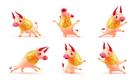 Chinese new year mascot - collection of traditional art oriental bull animal character isolated on white background. Happy bull stand, sit, jump, smile, greeting. Vector realistic design illustration.