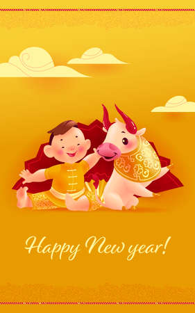 Chinese new year congratulation card, invitation, calendar design with oriental animal bull mascot and boy character in hanfu suit sit at big hand fan on yellow clouded background. Vector illustration