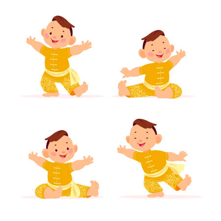 Happy chinese boy character in traditional hanfu suit collection isolated on white background. Happy chinese new year congratulation, celebration mascot sit, dance, greeting. Vector flat illustration.