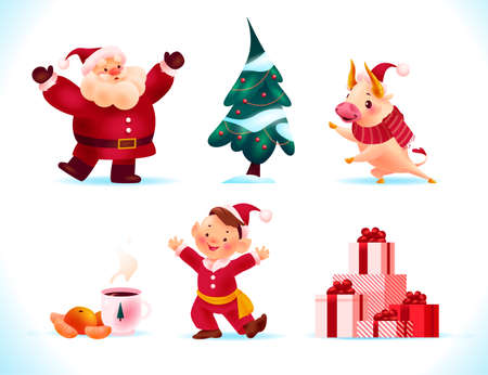 Set of Merry Christmas symbols and characters mascots: Santa Claus, bull animal, santa elf, decorated fir tree, pile of presents, cup of chocolate, tangerine. Vector flat illustration for banner, card