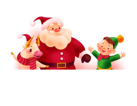 Happy Christmas Santa Claus, bull and little boy characters behind white banner / signboard with space for holiday congratulation isolated on white background. Vector flat illustration.