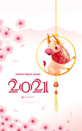 Chinese new year congratulation card, invitation, calendar design with traditional floral decor elements & oriental animal bull mascot character on pink background. Vector realistic flat illustration.