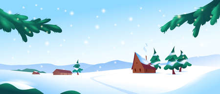 Winter snowy landscape with mountains, fir trees, little houses, trail in snowbanks, blue sky, firry branches, bushes and falling snowflakes. Illustration