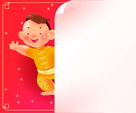 Chinese new year banner with happy boy mascot character in oriental traditional hanfu suit & white paper sheet on red background. Text place, sale placard template. Vector realistic flat illustration.