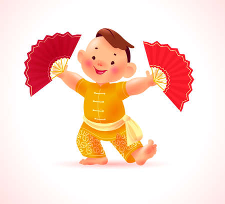 Happy chinese boy character in traditional hanfu suit with red fan isolated on white background. Happy chinese new year congratulation, celebration mascot dance greeting. Vector realistic illustration Иллюстрация