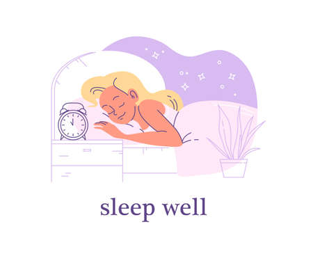 Young woman sleeping in cozy bed with alarm clock on night table. Well sleep time and sleep mode control. Vector flat illustration, line art.