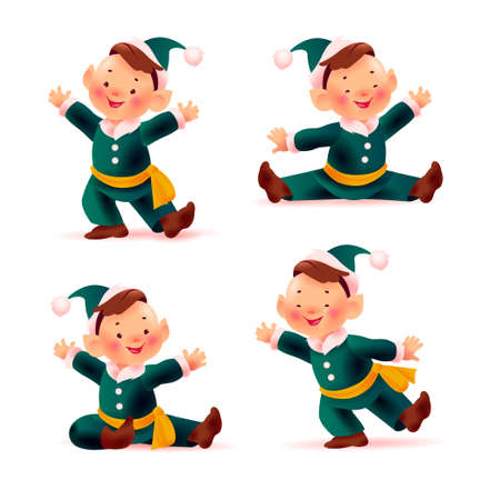 Collection of little and funny santa elves in green costumes and hats smiling isolated on white background. Christmas mascot character sit, dance, stand, wave greeting. Vector flat illustration. Иллюстрация