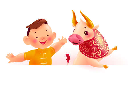 Chinese new year banner with happy boy character in oriental traditional hanfu suit, bull animal mascot, white paper sheet. Text place, sale placard template. Vector flat realistic illustration.