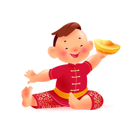 Happy chinese boy character in traditional hanfu suit with gold ingot isolated on white background. Happy chinese new year congratulation celebration mascot sit greeting. Vector realistic illustration Иллюстрация
