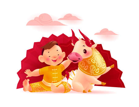 Happy chinese bull mascot & boy character in traditional gold hanfu suit near big fan isolated on white background. Chinese new year congratulation celebration greeting. Vector realistic illustration.