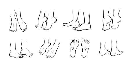 Collection of bare human man and woman feet pairs arranged in different poses isolated on white background. Front, side, back view. Foot icon. Vector hand drawn sketch line art illustration.