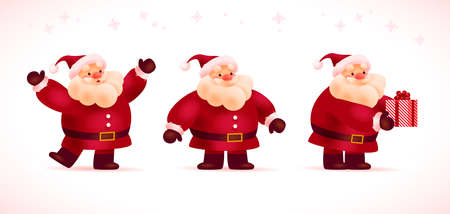 Collection of funny fat santa claus characters in red costume, hat smiling, waving, greeting, give gift box isolated on white snowy background. Merry Christmas 2021 mascot. Vector flat illustration. Иллюстрация