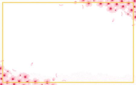 Chinese new year congratulation card, invitation, calendar design with golden rope, frame cherry blossom, pink sakura flower petals flying, florsl native ornament. Vector flat illustration.