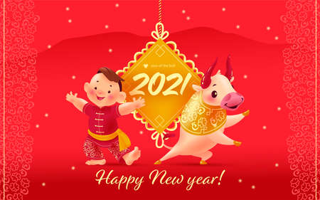 Chinese new year congratulation card, invitation, calendar design with traditional gold pendant, oriental bull mascot, boy character in hanfu suit on red mountains background. Vector illustration.