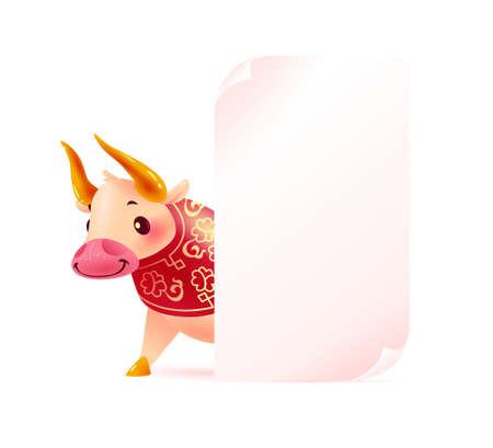 Chinese new year banner with oriental animal bull mascot character and white paper sheet on white background. Text place, sale placard design template. Vector realistic flat illustration.