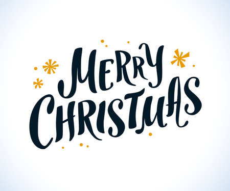 Vector Merry Christmas congratulation, hand written text, lettering design. with snowflakes isolated on white background. Illustration for xmas card, banner, advertisement, packaging etc.