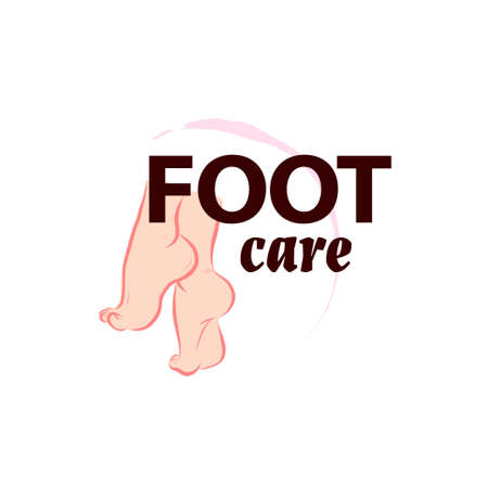 Foot care logo design with pair of bare woman feet arranged together isolated on white background. Foot icon. Vector flat illustration for foot cream, cosmetics, moisturizer, salon. Vettoriali