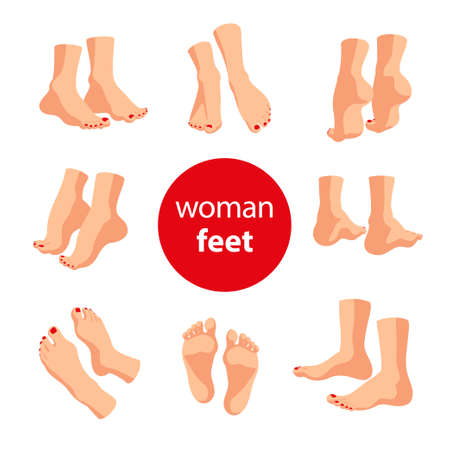 Collection of human man and woman feet pairs arranged in different poses isolated on white background. Front, side, back view. Foot icon. Vector hand drawn sketch line art illustration.
