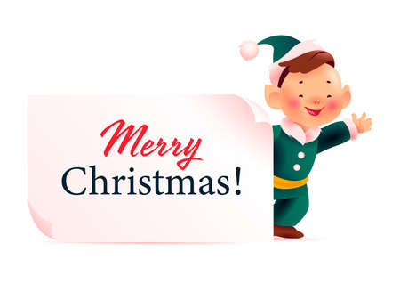Happy Christmas santa elf boy in green costume character behind white banner / signboard with holiday congratulation isolated on white background. Vector flat illustration.