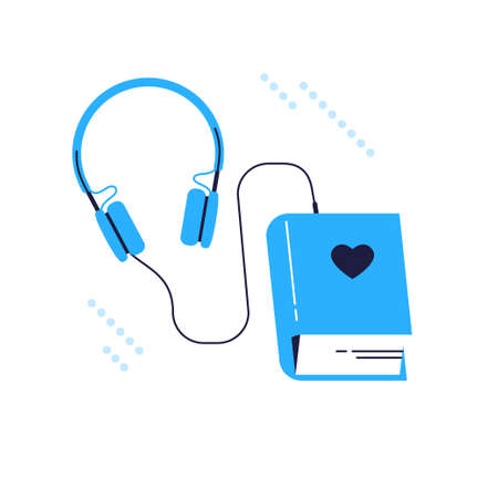 Audiobook metaphor with book and headphones in blue color isolated on white background. Line art, flat vector illustration.
