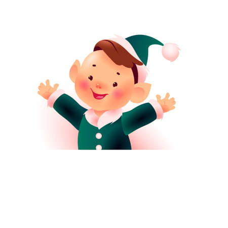 Happy Christmas santa elf boy in green costume character behind white banner / signboard with place for holiday congratulation isolated on white background. Vector flat illustration.