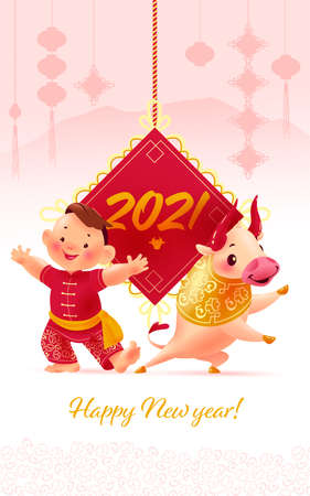 Chinese new year congratulation card, invitation, calendar design with traditional pendant lantern, oriental bull mascot, boy character in hanfu suit on light mountains background. Vector illustration