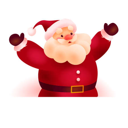 Happy Christmas Santa Claus character behind white banner / signboard with place for holiday congratulation isolated on white background.