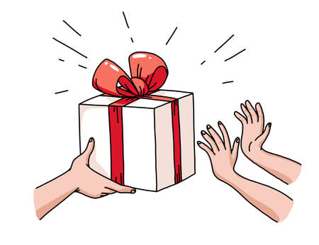Human hands giving gift box to another pair. Happy presents giving. Holiday congratulation. Hand drawn doodle style, line art. Vector flat illustration.