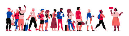 Tourists and passengers people characters (teens, couples, family) with bags and backpacks walking, taking a tour, trip, making pics and selfie, isolated on white background. Vector flat illustration Vettoriali